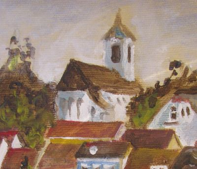 Detail of View of Szentendre from the Danube river. St John's church. Acrylic painting.