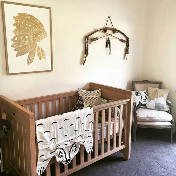 @obeaumont your nursery is looking !!! Where is that beautiful Native American headdress artwork from? It goes perfect with our Heirloom Bear blanket! Thank you again for your order lady, xoxo ♡ photo from obeaumont