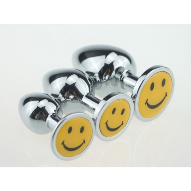 BQS - Buttplug i metall med Smiley Small