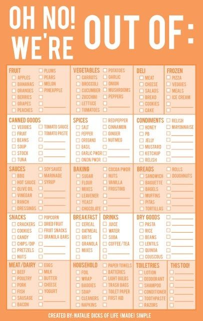 Print this, laminate it and keep a dry erase marker nearby! Check things off as appropriate and before shopping take a picture and BAM! instant shopping list. :)