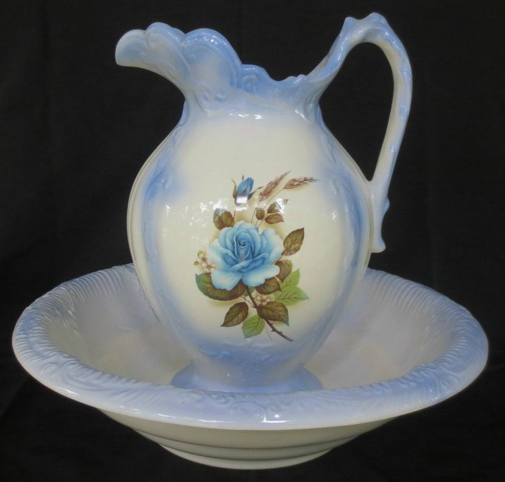 BLUE ROSE Floral Antique Porcelain PITCHER Bowl WATER BASIN.