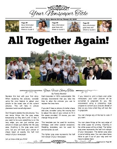 14 Best Family Or Class Reunion Birthday Newspaper Templates