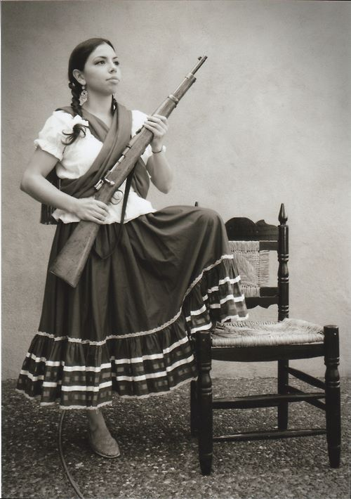 This is La Adelita , the lady of the revolution. She was during Mexican revolution as the leader of women. Today, during the celebration women dress in similar suits in honor of Adelita . Like many other revelations people looked up to the Americans because the Americans were the first successful country to rebel and succeed.