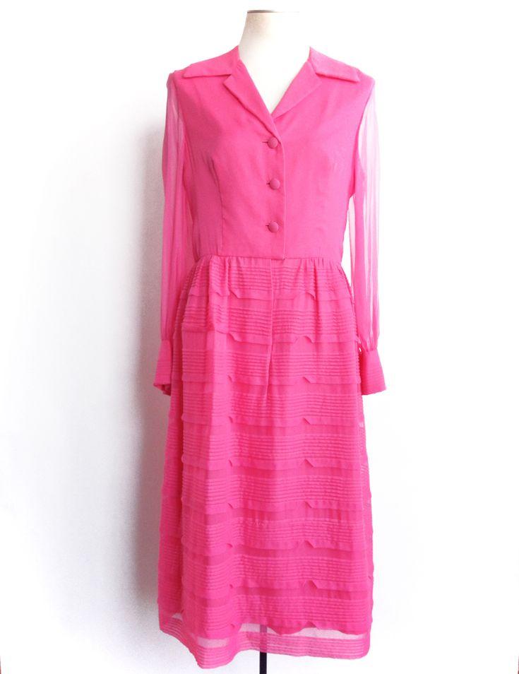 1960s Pink Party Dress Sheer Chiffon