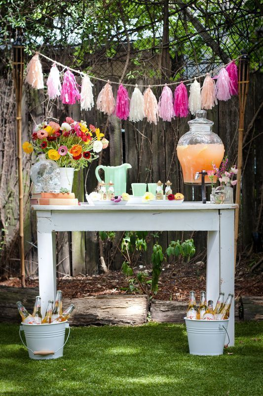/LEMONADE STAND Lemonade for sale – only 50 cents! Set up a cute lemonade stand (perhaps with some adult mixers) with fresh juice, a mint pitcher, and some sweet garnishes.