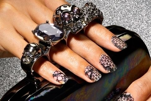 alexander mcqueen clutch purse and gorgeous nails