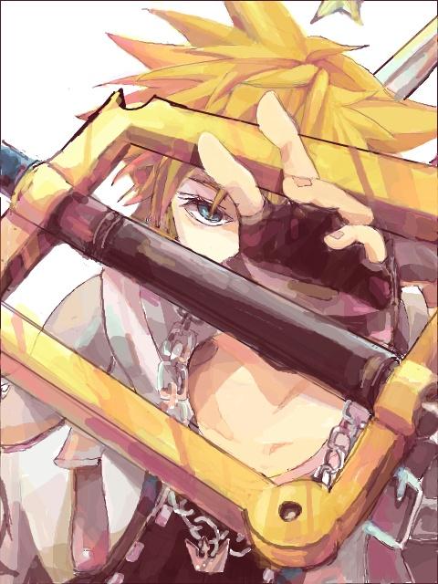 Sora, wielding a Kingdom Key that has an unusually wide handle.