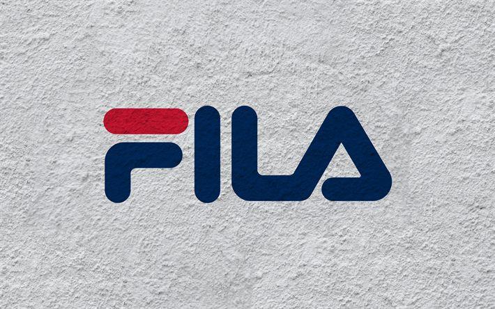 Download wallpapers Fila, Emblem, logo, wall texture, South Korean manufacturer
