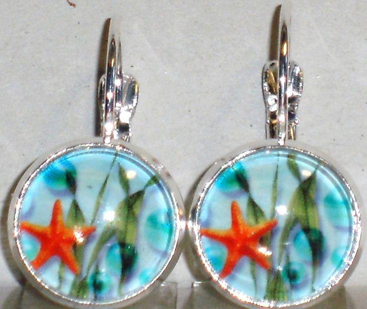 Ohrringe Seestern Damen Ohrschmuck Modeschmuck ohne Stein Glas Cabochon