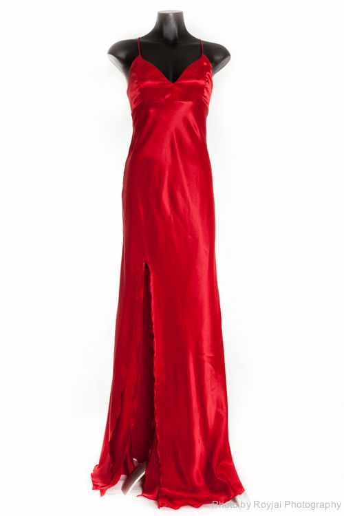 Gorgeous Dana Mathers red gown for hire