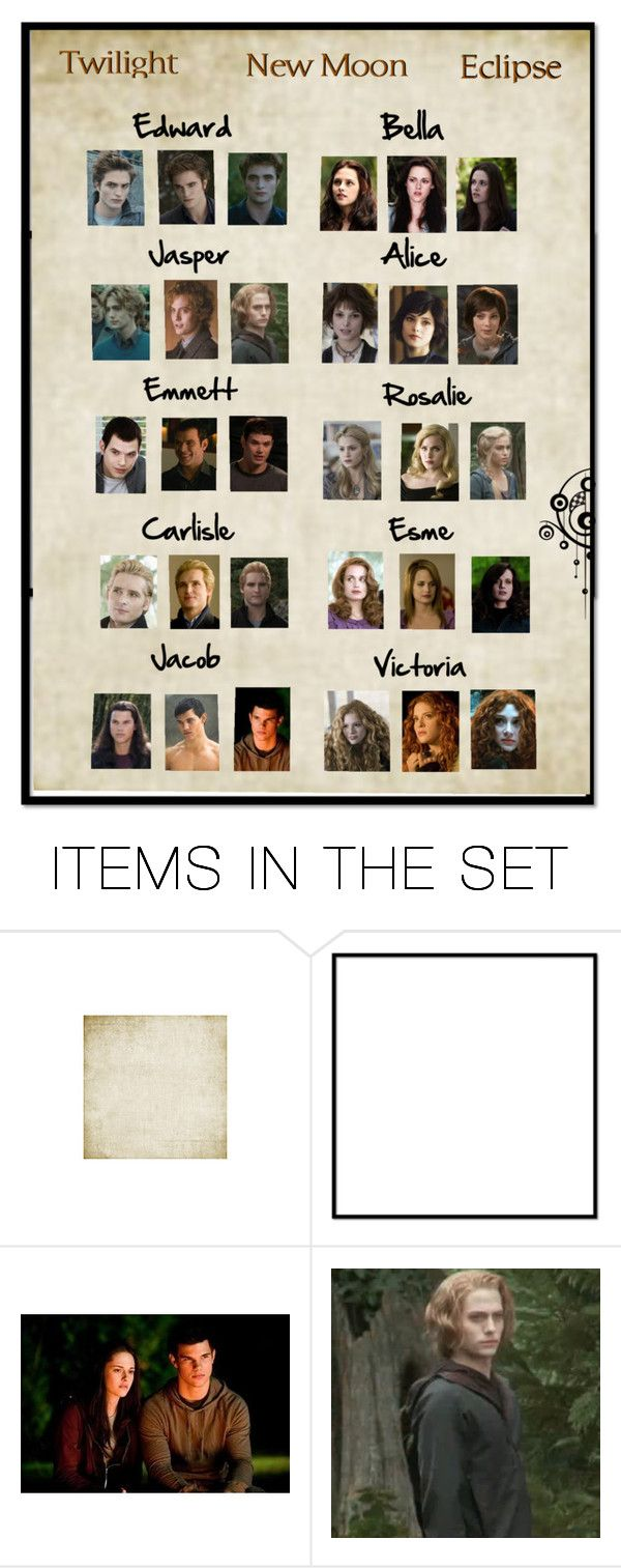 """Twilight, New Moon, Eclipse."" by missnikki94 ❤ liked on Polyvore featuring art, jasper hale, edward cullen, jacob black, twilight, rosalie hale, carlisle cullen, victoria., new moon and emmett cullen"