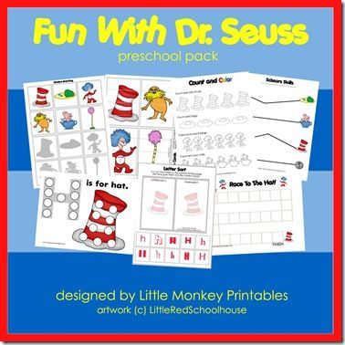 Dr. Seuss Printable Pack:  This pack has graphics from three different Dr. Seuss stories. You may wish to read these stories while working on this pack: You'll find 20 activities:      Count & Color     Prewriting     Beginning Sounds     Race To The Hat game     Handwriting (H,h)     Count & Clip cards (1 – 12)     Finish The Pattern     Letter Sort (H,h)     Shape Match cards     Scissors Skills     Ten Part Puzzles     Word Builders     Shadow Matching     Size Matching     Letter Hunt…
