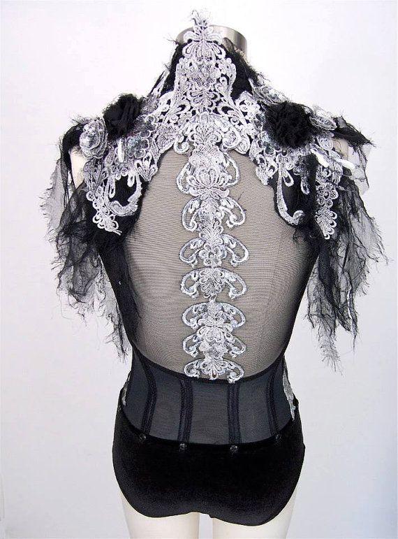 Aerial silks costume / custom dance costume / skeleton spine goth gown detachable skirt / leotard made to order