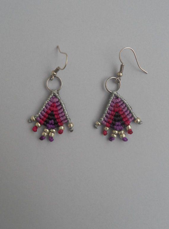 Micro macrame triangle dangle earrings,Ethnic bohemian chic geometrical…