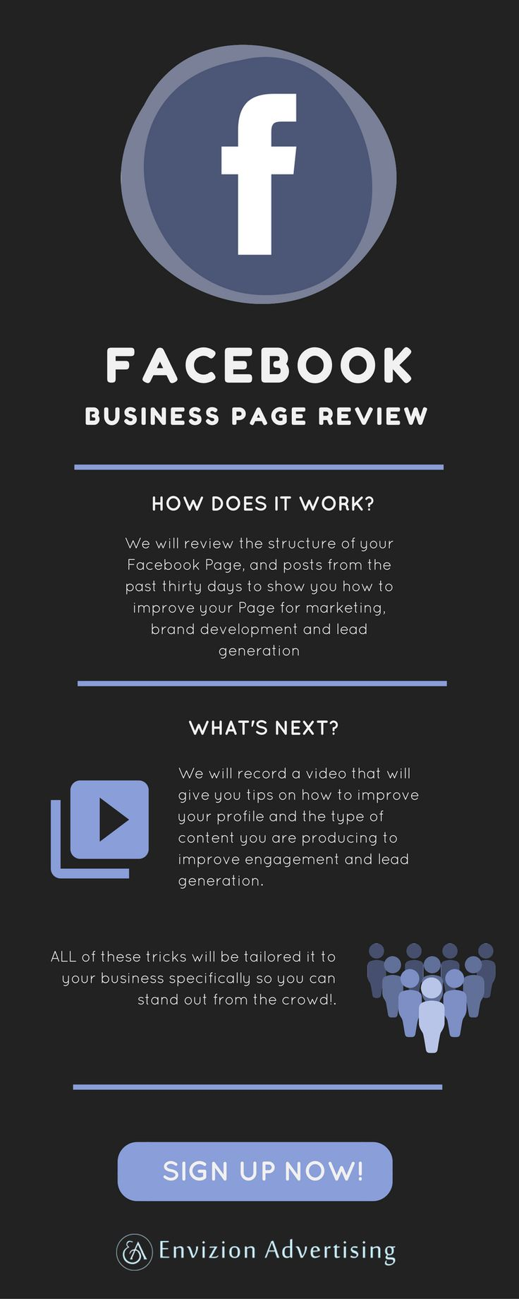 Do you want your Facebook working in your business favor? We will review the structure of your Facebook Page, and posts from the past thirty days to show you how to improve your Page for marketing, brand development and lead generation. Review my facebook: https://envizionadvertising.com/product/facebook-business-page-review/