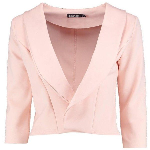 Boohoo Daisy Shawl Collar Crop Blazer ($24) ❤ liked on Polyvore featuring outerwear, jackets, duster coat, pink duster coat, cropped blazer, bomber jacket and longline bomber jacket