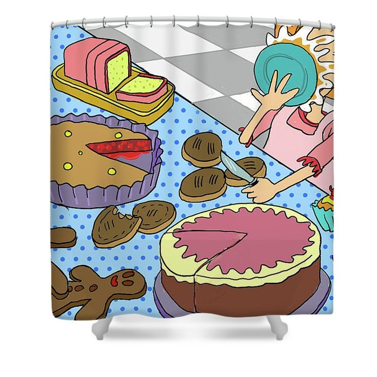 Have your cake and eat it too... quirky shower curtain.