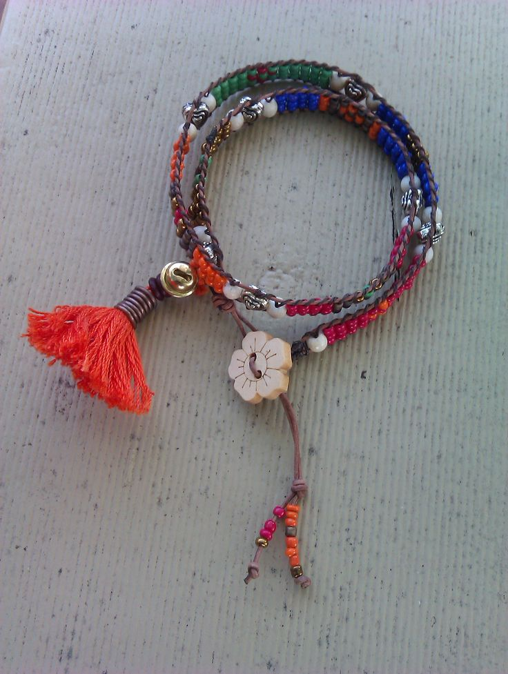 Boho beaded wrap bracelet