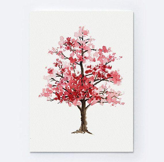 Kirschblute Baum Aquarell Floral Giclee Von Colorwatercolor Auf