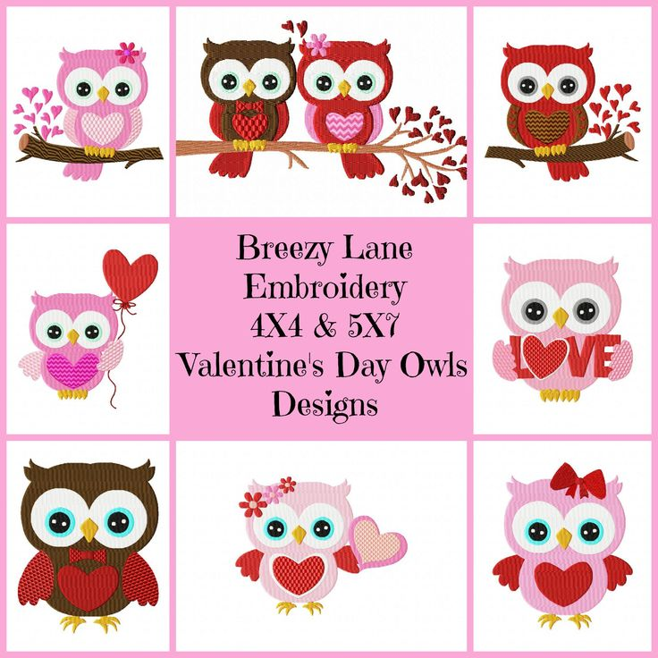 Valentine s day owls set breezy lane embroidery
