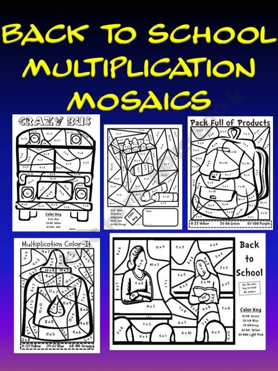 back to school multiplication mosaic pack coloring fun review 3rd 5th grade pinterest. Black Bedroom Furniture Sets. Home Design Ideas
