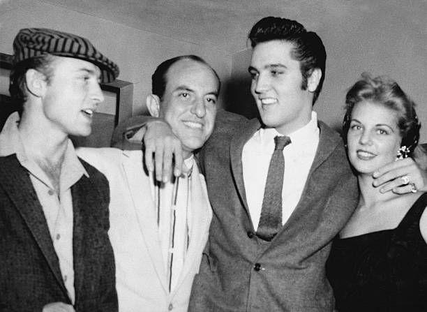 Actor Nick Adams close friend Eddie Fadal Elvis Presley girlfriend Anita Wood in 1958