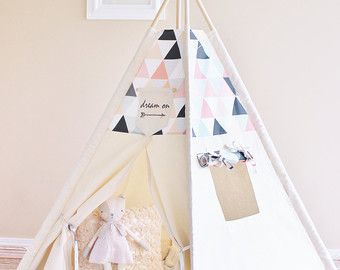 Ocean Tide SPOT ON Tent with Coral Cream Pink Brown от AshleyGabby