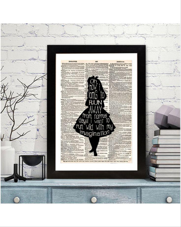 Alice in Wonderland Prints, Dictionary Wall Art, Wall Prints, Instand Download Wonderland Art, Dictionary Decor by KleezPrints on Etsy