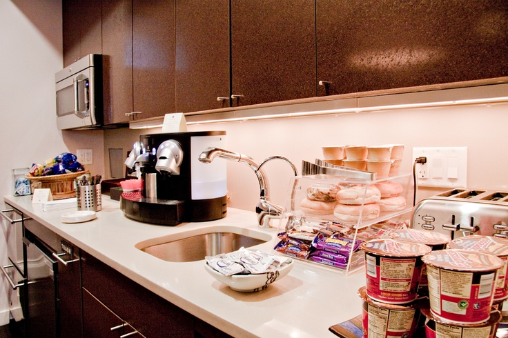 Continental Breakfast Served Daily in the Lounge: yogurt, juice, bagels&cream cheese, energy bars, coffee and expresso!