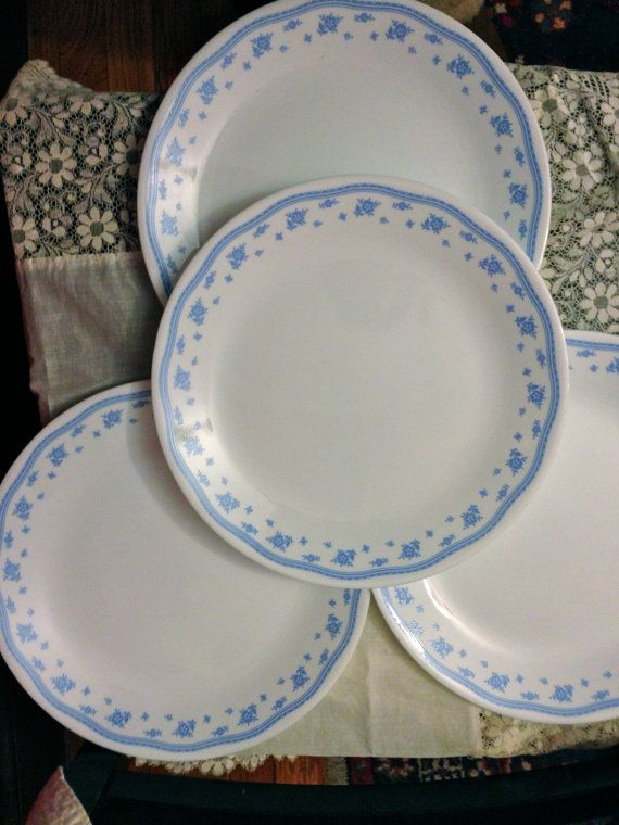 VINTAGE Corelle Morning Blue Set of FOUR Plates Blue Flowers Corelle by Corning Ware Corning Light & 56 best Dish Corelle images on Pinterest | Dish Plates and Mornings