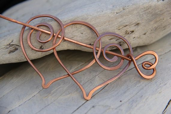"""Hair slide, hair barrette, hair fork. hair pin, """"Two hearts"""", copper or german silver hair stick, shawl pin"""