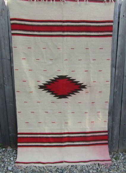 """Vintage Chimayo Wool BLANKET Woven RED BLACK 73"""" x 41"""" South Western Decorating"""