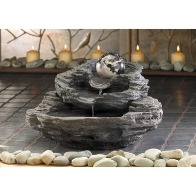 Zen Decor for the Man Cave: Rock Layer Waterfall Table