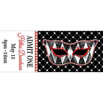 This Harlequin Mask and Bling Personalized Ticket has the words ADMIT ONE and features a stylish mask on a black blingy background.