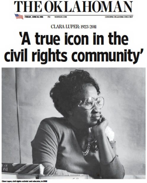 """Clara Mae Luper   """"face of the Oklahoma Civil Rights Movement""""...In 1958, she led a group of children, including her own, in a sit-in protest at Oklahoma City's Katz Drug Store, which refused to serve Black customers. """"They were spat upon, burned with hot grease, even kicked and punched."""" She participated in the historic March on Washington, D.C., and the Selma, Alabama March. She was arrested 26 times in Civil Rights activities. She understood the power of committed nonviolent protest."""