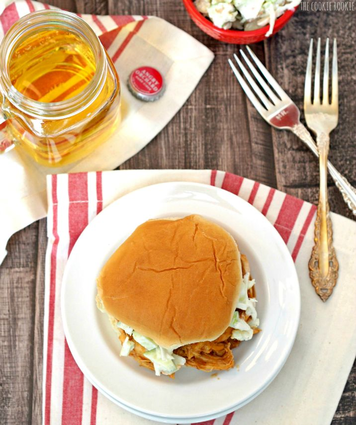 Slow Cooker Hard Apple Cider Pulled BBQ Chicken Sandwiches with Almond Apple Slaw! Delicious and easy! Best sandwich ever! - The Cookie Rookie
