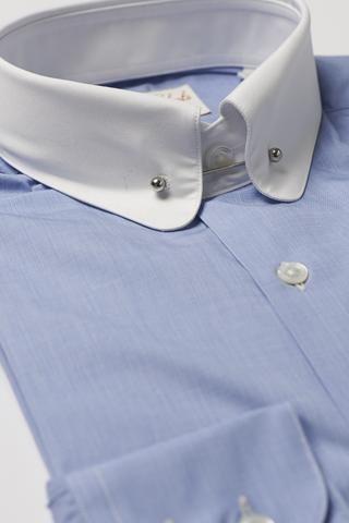 Mens Blue Pin Collar Shirt Penny White Collar