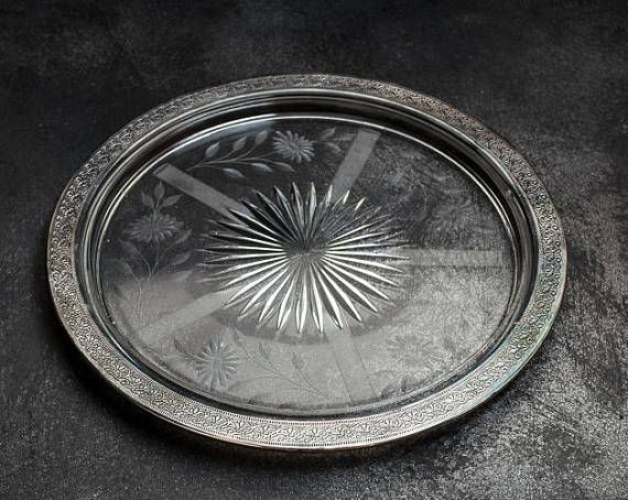 Vintage Clear Glass Tray  Mid Century Serving Dish Trimmed