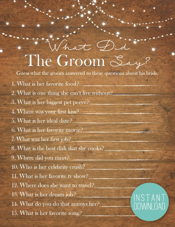 wedding shower poem ideas%0A Rustic Lights What Did The Groom Say   Bridal Shower Games   What Did The  Groom Say   Rustic  Country Bridal  Mason Jars  Fairy Lights