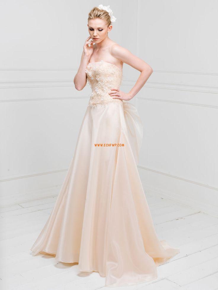 Sans bretelles Organza Printemps Robes de mariée pas cher