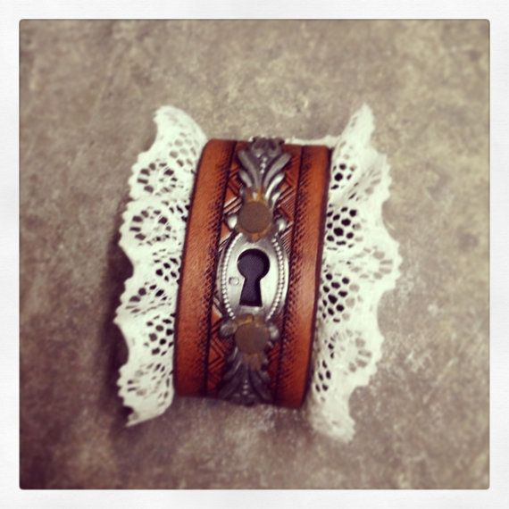 Victorian keyhole steampunk rusted lace up leather bracer cuff one of a kind - Ready to ship