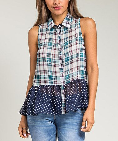 Look at this #zulilyfind! Navy Plaid & Polka Dot Sleeveless Button-Up #zulilyfinds 16.99