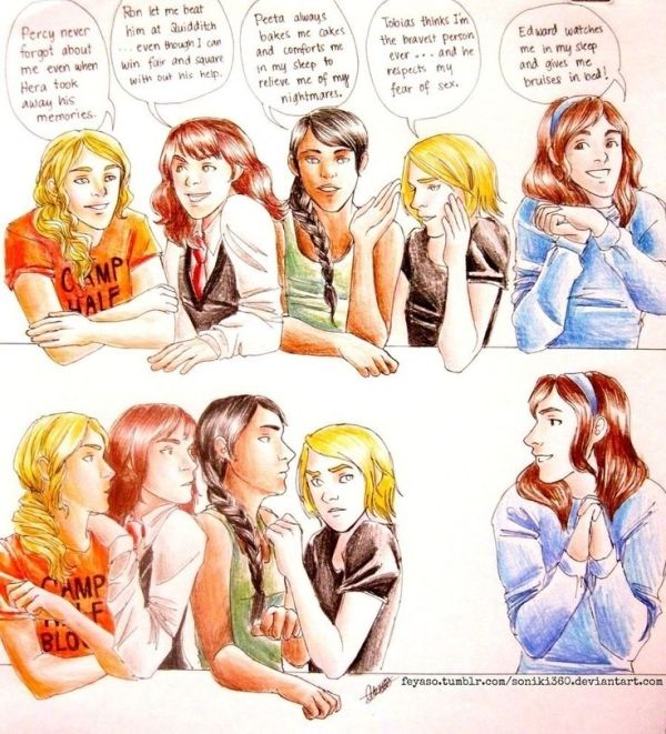 Percy Jackson and Harry Potter and The Hunger Games and Divergent vs. Twilight. This is too funny. by lorena
