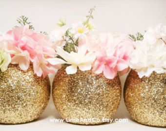 Mason Jar Wedding Centerpieces Gold and Black by LimeAndCo