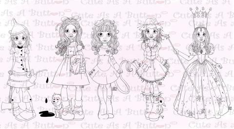 Cute As A Button Designs IMG00476-480 Wizard of Oz Bundle Digital Digi Stamp