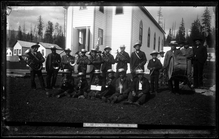 Group portrait of Squamish First Nations brass band VPL Accession Number: 19950 Date: 189- Photographer / Studio: Bailey Bros. Content: written on image '519. Squamish Indian Brass Band'. http://www3.vpl.ca/spe/histphotos/