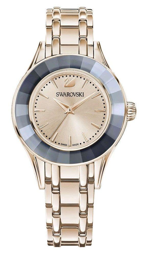 Swarovski Dameshorloge Alegria champagnekleurig 5368924. Voeg subtiele sprankeling toe aan jouw outfit met dit trendy en stijlvol horloge in champagnekleur met een bezel van grijs kristal. De kast met een doorsnee van 33 mm en horlogeband zijn in champagnekleur welke prachtig combineren met de grijze rand. Het model is voorzien van een Zwitsers uurwerk en is 50 meter waterdicht.