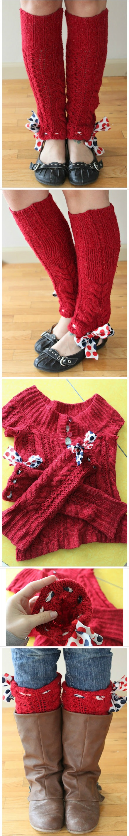 DIY: Upcycle sweater sleeves into leg warmers!... Ann you should have pinned this years ago LOL!!
