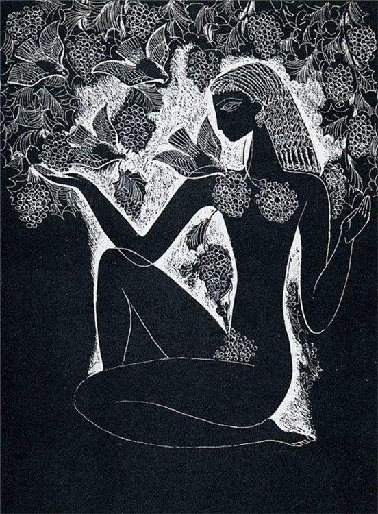 Stasys Krasauskas --Illustration to The Song of Songs, also known as the Song of Solomon. 1966