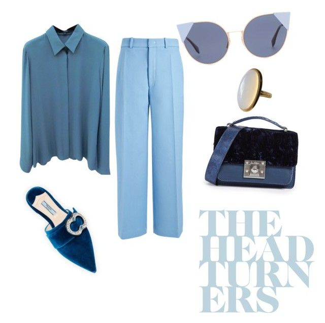 Blue is the warmest color *by oaklimova on Polyvore featuring polyvore fashion style Gucci Joseph Prada Sam Edelman Fendi clothing